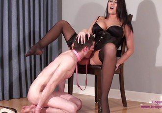 Virgin Slave Danni Eats His First