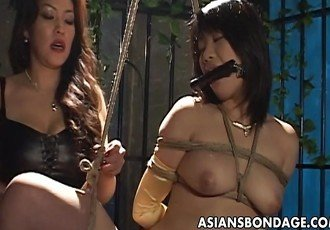 Bound Asian chick endures a nasty