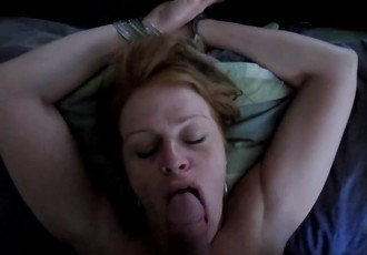 Redhead blowjob with piss fucked