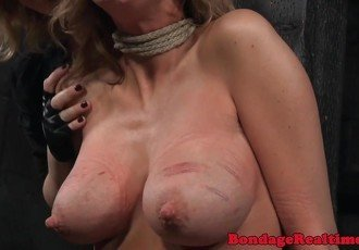 Bigtitted bdsm sub with scars gets