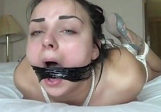 Bondage deepthroating and