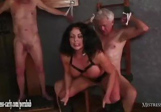 Hot Mistress feeds cuckold slave