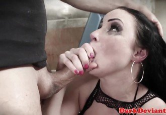 Bound BDSM sub facefucked by her