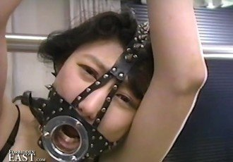Bound and gagged Asian women teased