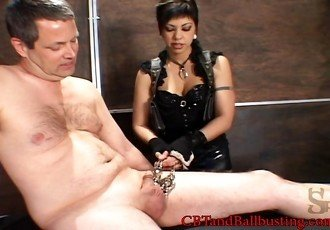 CBT teasing cock and ball torture