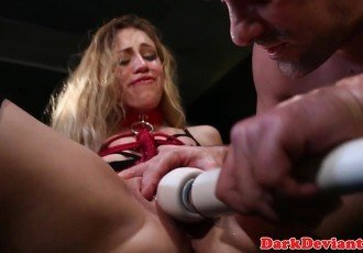 Bound bdsm sub fingered while in