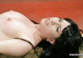 Pretty naked brunette slave gets
