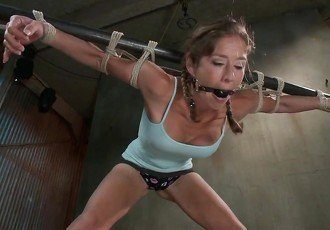 Girl is bound  dominated  cums hard
