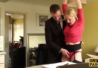 Mature uk sub gets cuffed and