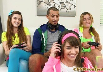 Dominating gamer girls sucking